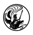 spartan with a sword on horseback vector image vector image