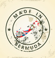 Stamp with map flag of Bermuda vector image vector image