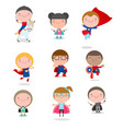super hero kids with costumes set vector image