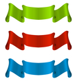 Three colorful ribbon tape isolated on white vector image vector image