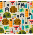 Tourist seamless pattern with camping equipment in vector image vector image