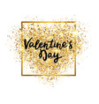 valentines day gold glitter heart with glowing vector image vector image