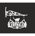 Vintage sign with black cat for outdoor