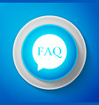white speech bubble with text faq information vector image vector image