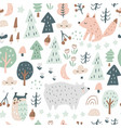 woodland seamless pattern with bear fox owl vector image