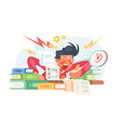 young student before exams vector image vector image