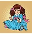 Beautiful retro girl doll vector image
