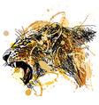 Colored hand sketch roaring lioness head vector image
