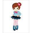 cute little girl anime with blue sweater vector image
