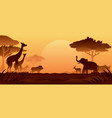 african safari animals silhouette background vector image vector image