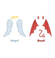 angels and demons wings cartoon evil demon horns vector image