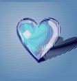 blue volumetric heart of lines vector image vector image