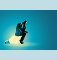 businessman sitting and thinking on light bulb vector image vector image