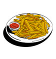 cartoon image of french fries vector image