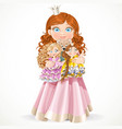 ccute little princess girl holding in arms dolls vector image