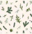 christmas seamless green pattern vector image