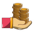 coins cash currency in the hand vector image vector image