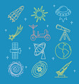 colored space icons set in thin line style vector image vector image