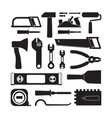 different construction tools black glyph icons set vector image vector image