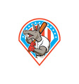 Donkey Baseball Player Batting Diamond Cartoon vector image vector image