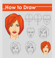 draw tutorial step by step female face vector image vector image