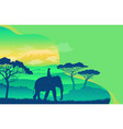 elephant in african savanna at sunset vector image vector image