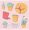 gardening elements stickers vector image vector image