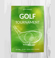 golf party invitation card sport tournament flyer vector image vector image