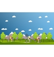 Group of bicycle riders on bikes in mountains and vector image vector image