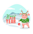 happy new year postcard pig winter snowy landscape vector image vector image