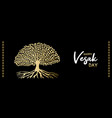 happy vesak day web banner gold bodhi tree vector image vector image