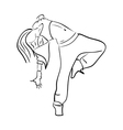 Hip-hop woman dancer contour sketch vector image vector image