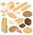 isometric bread icons vector image vector image