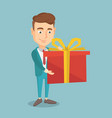 joyful caucasian wman holding box with gift vector image vector image