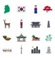 Korean Culture Symbols Flat Icons Set vector image
