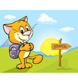 landscape with cat and directional signs - the way vector image vector image