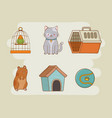 mascot care set icons vector image vector image