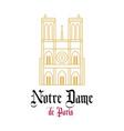 notre dame cathedral line drawn facade vector image