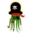 octopus pirate poulpe buccaneer eye patch and vector image vector image