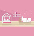 pink girl bedroom flat style toys and vector image