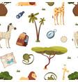 safari pattern africa travel leo giraffe vector image vector image
