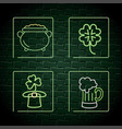 set neon label decoration to st patrick event vector image vector image