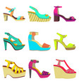 set of women summer shoes vector image vector image