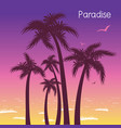 tropical island paradise with palms silhouette in vector image