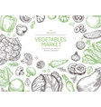 vegetables hand drawn background organic food vector image vector image