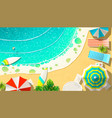 wavy sea and coast with lounges vector image vector image