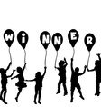 Winner concept with children silhouettes and vector image