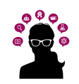 Womans head with education icons vector image vector image