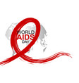 world aids day design of red ribbon and world vector image