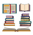 color set with knowledge stack of books vector image